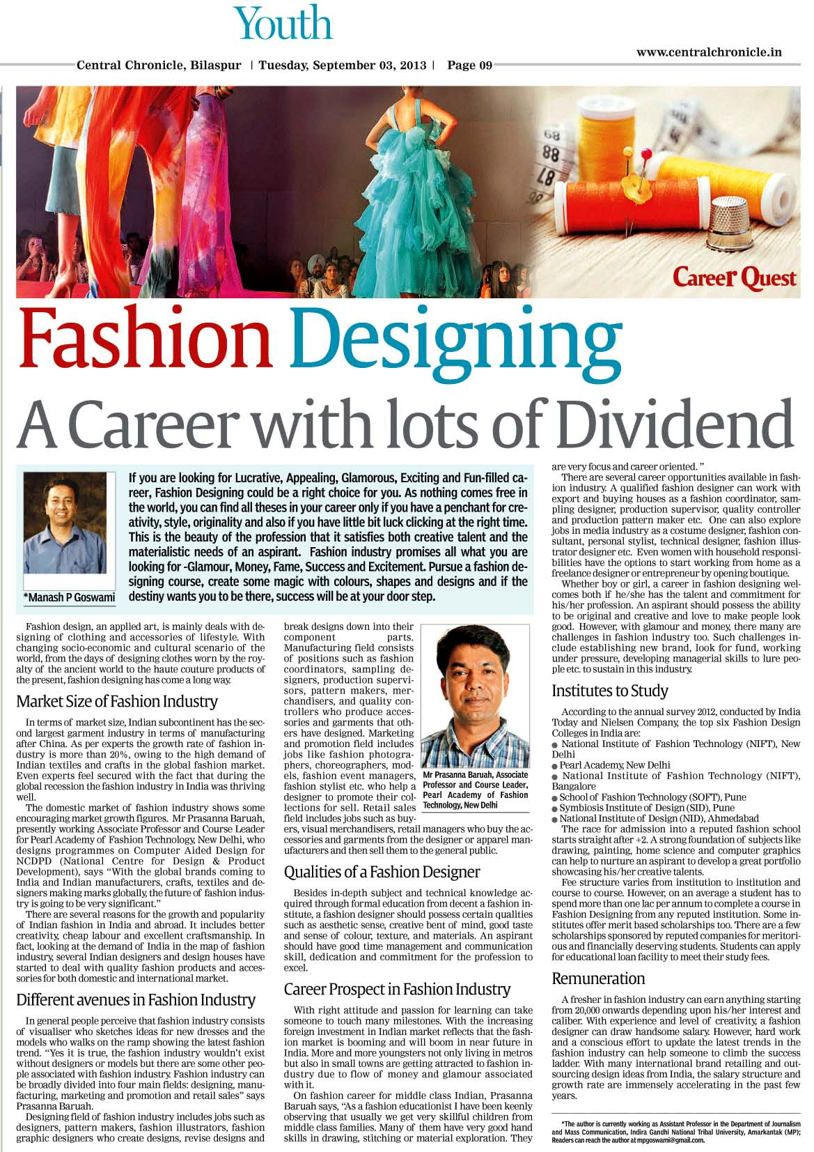 Fashion Designing Is A Career And It Would Not Exist Without Designers Says Prasanna Baruah Faculty Pearl Academy Pearl Library Blog