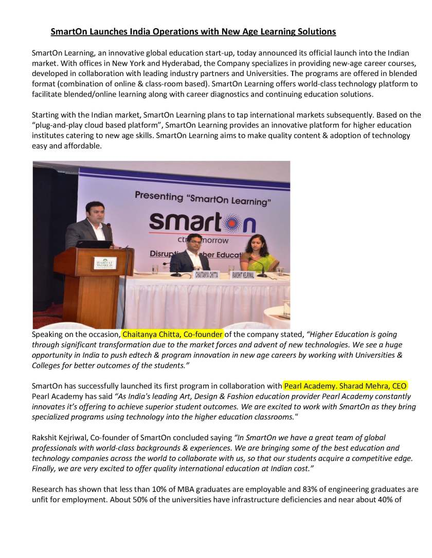 SmartOn Launches India Operations with New Age Learning Solutions_Page_1
