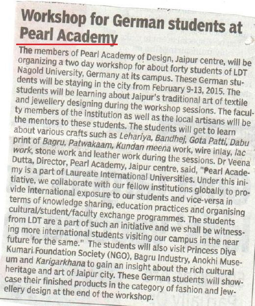 Times of India Page 6 German Students 10_)2_15