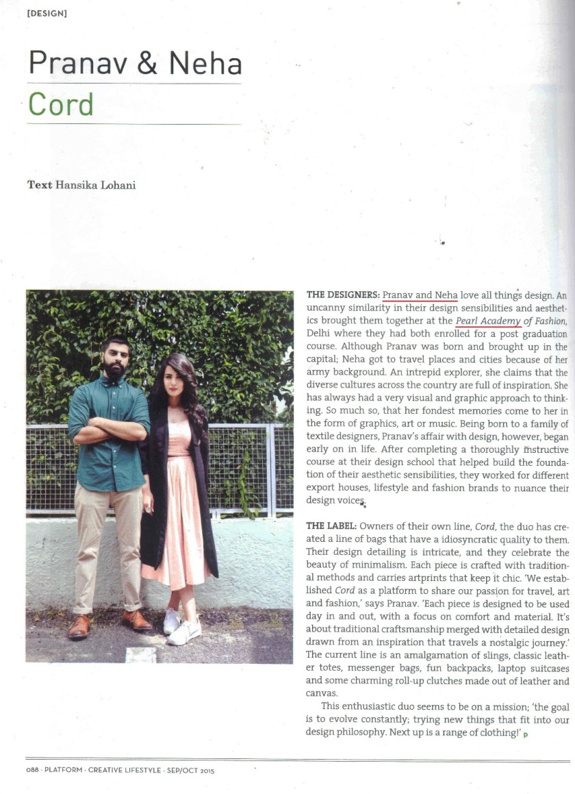 Platform Magazine_SEp-OCT, 2015 Issue-Pranav and Neha_Cord-Page-1