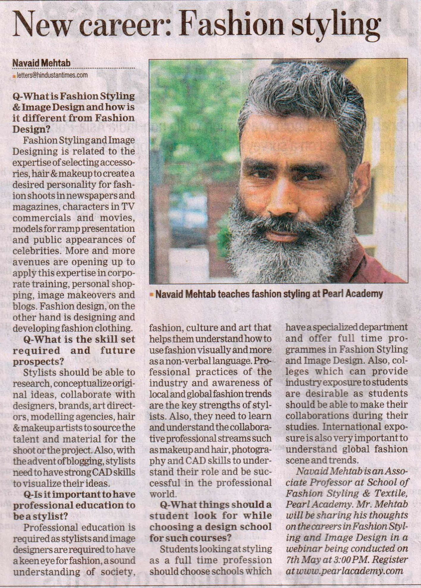 Pearl Faculty Navaid Mehtabs Article On Fashion Styling Got Featured In Hindustan Times A Leading English Daily